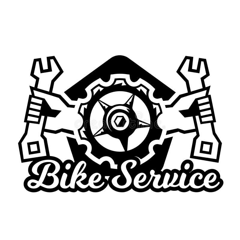 Monochrome логотип, ремонт горного велосипеда также вектор иллюстрации притяжки corel бесплатная иллюстрация
