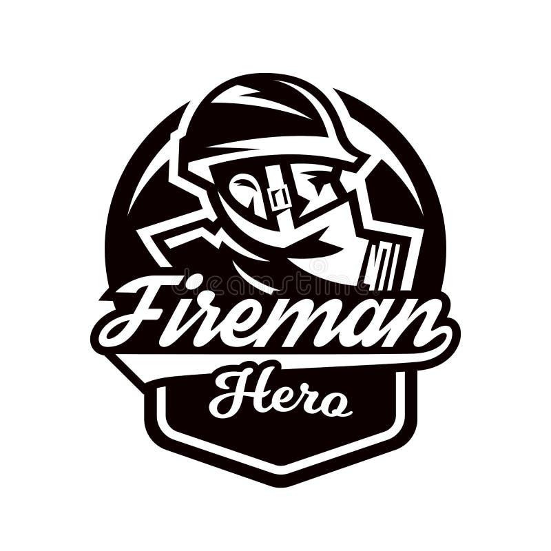 Monochrome логотип, эмблема, пожарный в маске противогаза иллюстрация вектора