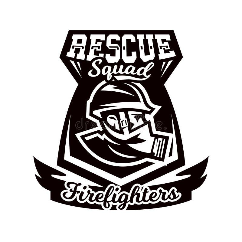 Monochrome логотип, эмблема, пожарный в маске противогаза иллюстрация штока