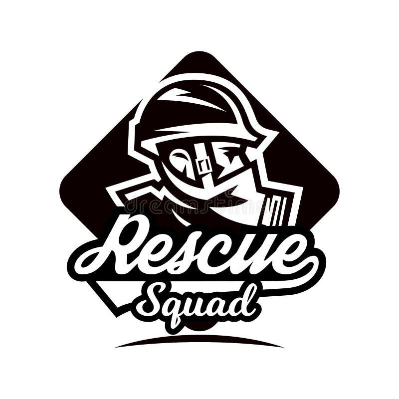 Monochrome логотип, эмблема, пожарный в маске противогаза бесплатная иллюстрация