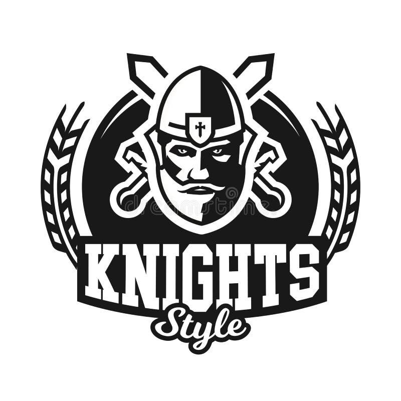 Monochrome логотип, эмблема, рыцарь в шлеме на фоне шпаг crosswise Викинг, варвар, ратник иллюстрация вектора