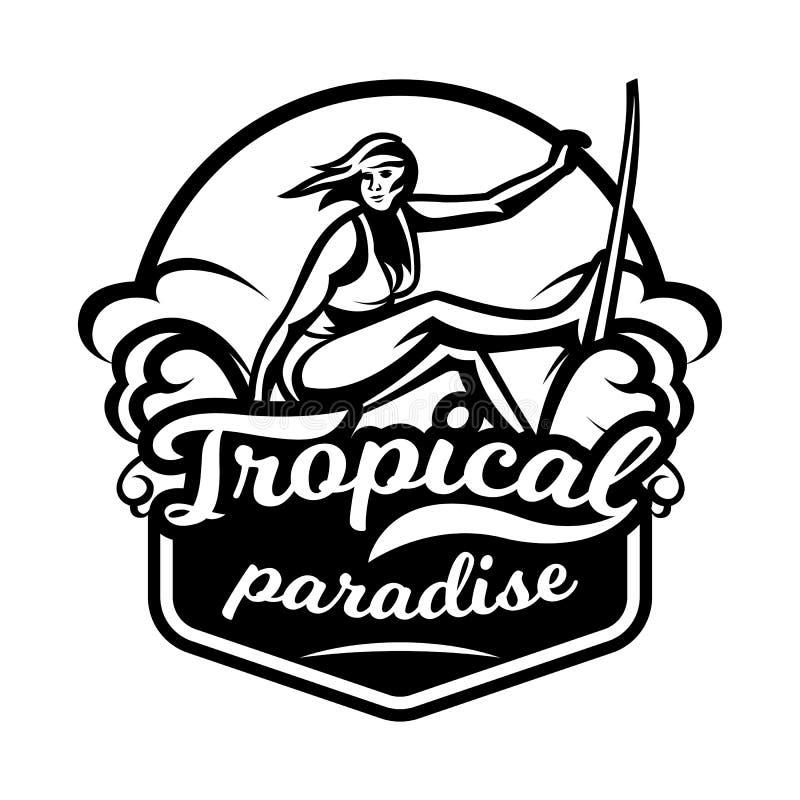 Monochrome логотип, эмблема, серфер девушки Занимающся серфингом на волнах, пляж, выходные, весьма спорт также вектор иллюстрации бесплатная иллюстрация