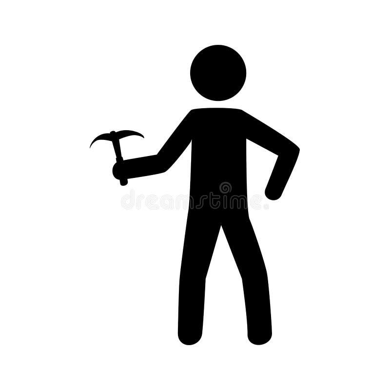 Monochrome пиктограмма с взбираясь человеком с осью льда иллюстрация штока