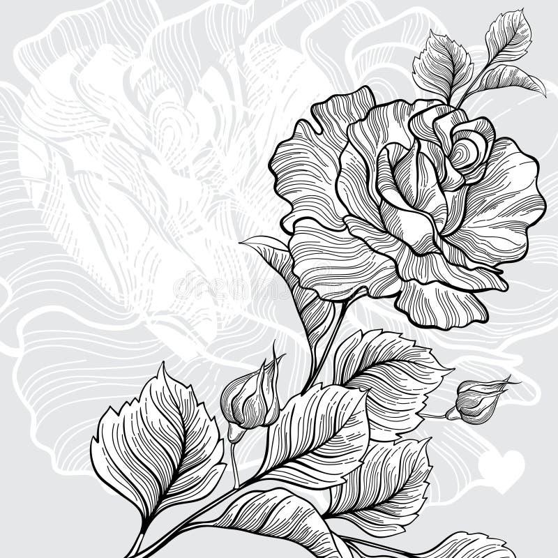 Download Monochrome поздравительная открытка приглашения или с розовой и сердцем. Иллюстрация штока - иллюстрации насчитывающей картина, флористическо: 37926043