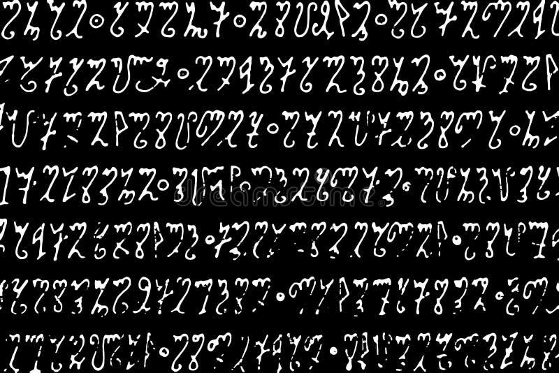 Monochrome предпосылка белых писем говорит волшебный алфавит по буквам на черноте иллюстрация вектора