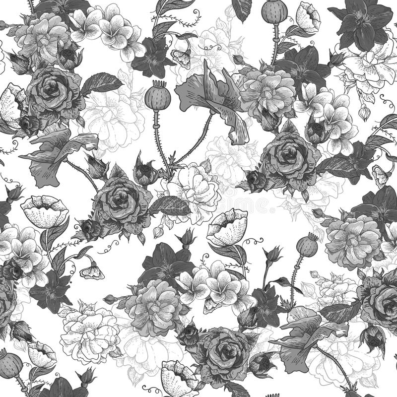Download Monochrome предпосылка с цветками Иллюстрация вектора - иллюстрации насчитывающей печать, сторонника: 37926234