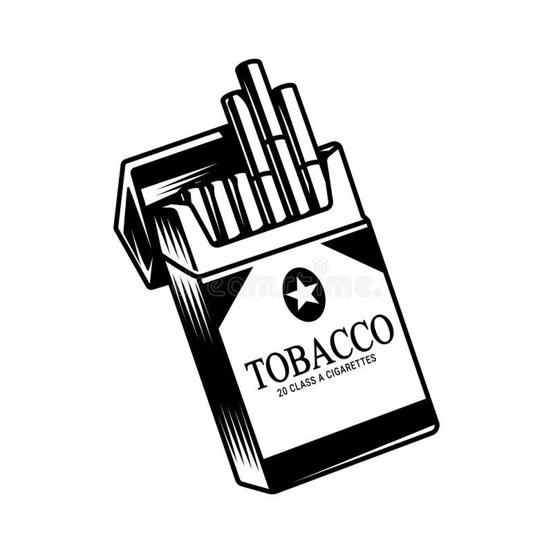 Monochrome раскрытый пакет сигарет иллюстрация вектора