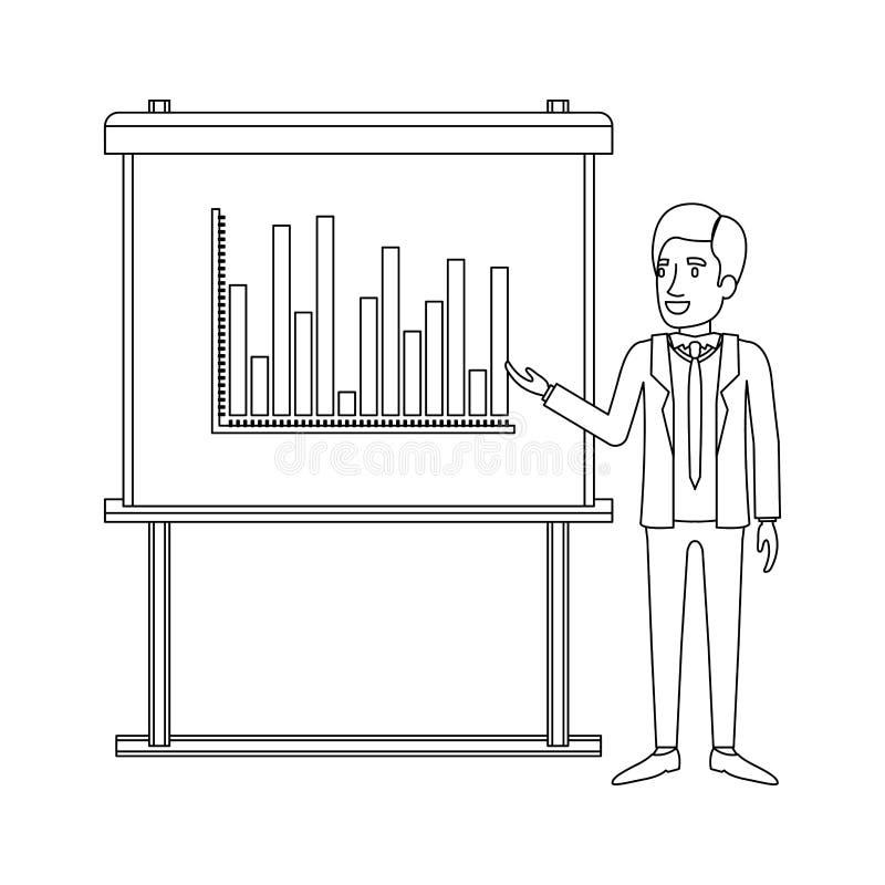 Monochrome силуэт бизнесмена в официальном костюме с галстуком делая представление иллюстрация штока