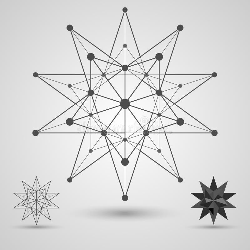 Monochrome скелет соединенных линий и точек Большой stellated элемент dodecahedron стереометрический иллюстрация вектора