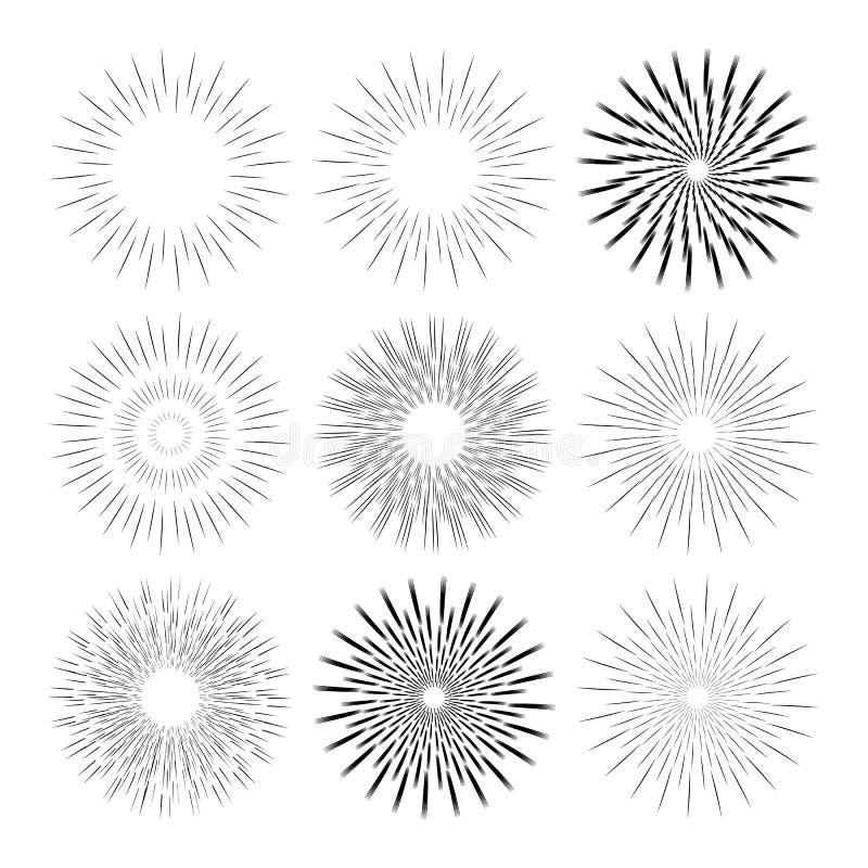 Monochrome собрание ретро sunbursts нарисованных рукой изолированных на белой предпосылке вектор иллюстрация вектора