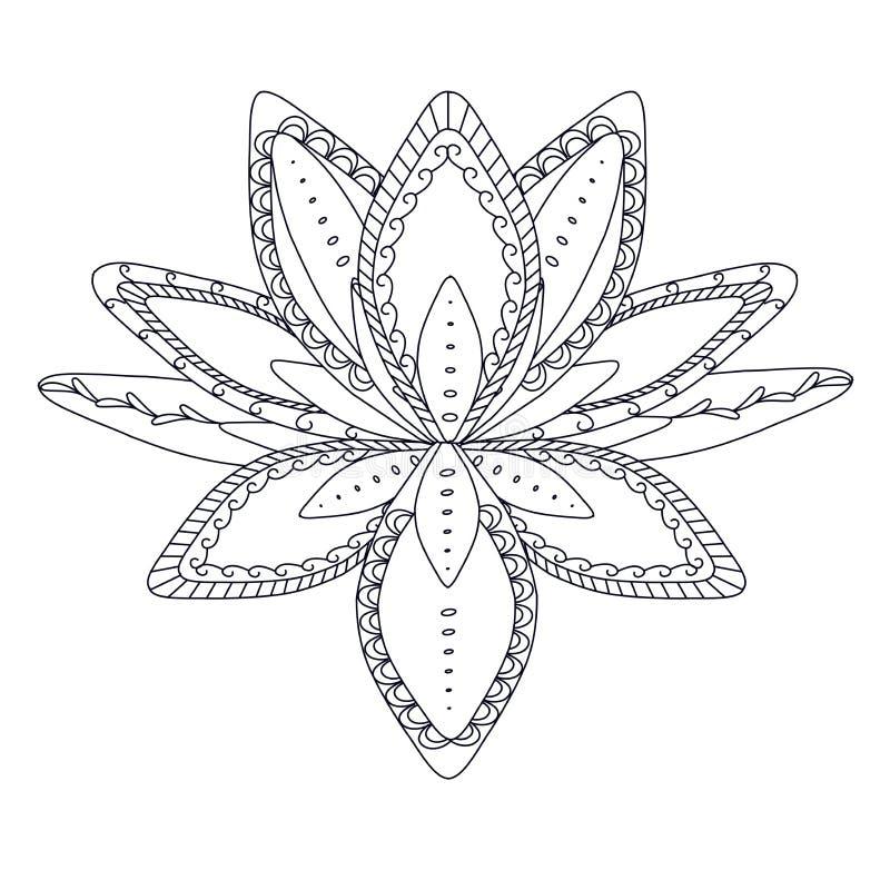 Monochrome стилизованный орнаментальный цветок лотоса для логотипа, для татуировки, для machindi иллюстрация вектора