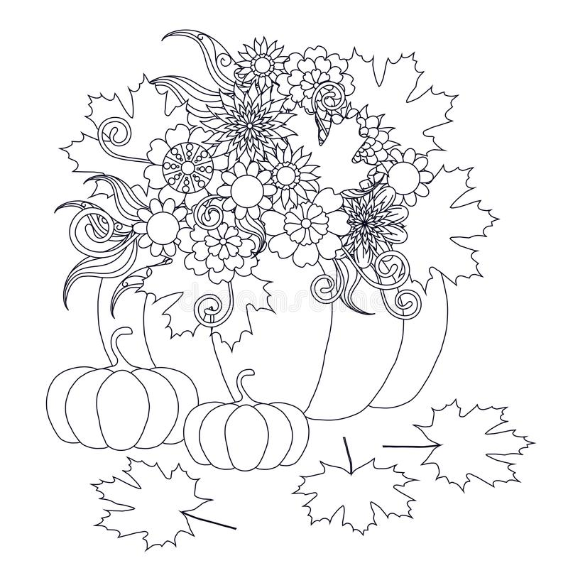 Monochrome тыквы doodle нарисованные рукой с цветками иллюстрация штока
