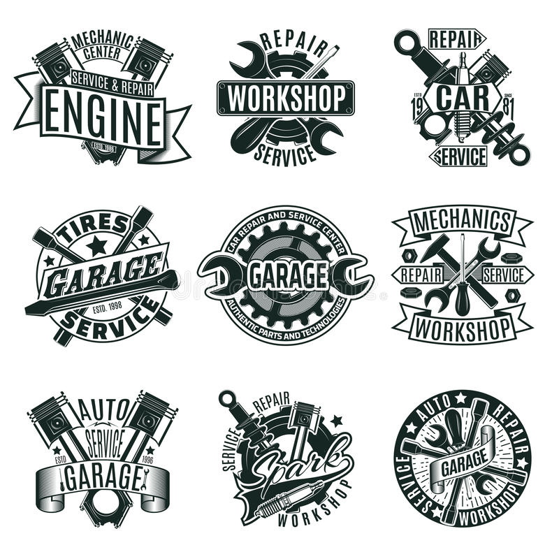 Monochrome установленные логотипы ремонтных услуг автомобиля иллюстрация вектора