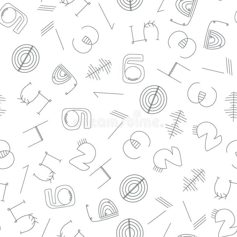 Monochrome числительная безшовная картина обоев Черно-белые безшовные диаграммы предпосылка вектора иллюстрация штока