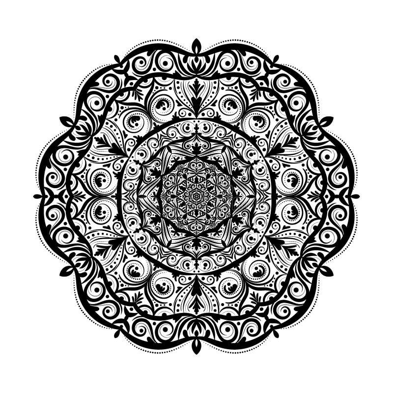 Monochrome элемент doodle мандалы в стиле boho Декоративная круглая картина, мандала цветка, этнический орнамент, салфетка шнурка иллюстрация вектора