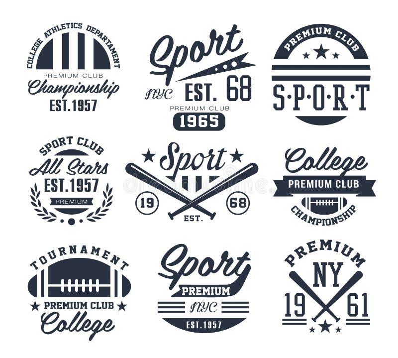 Monochrome эмблемы спорта, ярлыки, значки, логотипы иллюстрация штока