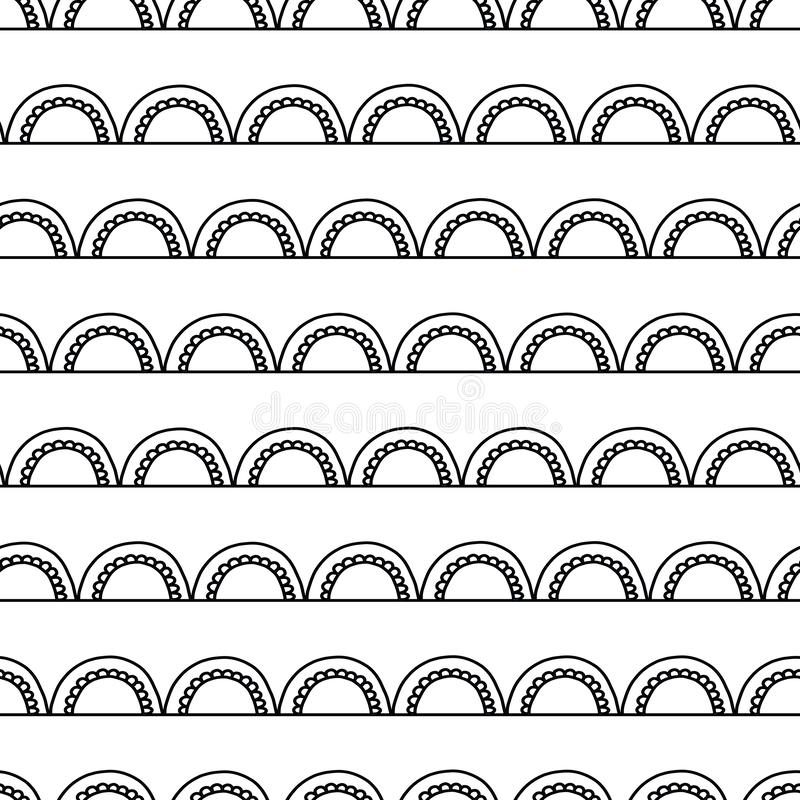 Monochrome Abstract doodle background. Seamless geometric vector pattern. Black arches on white. Modern Art deco arc design. stock illustration