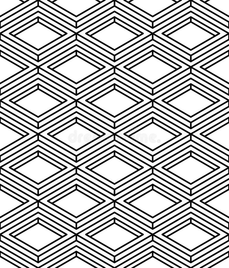 Monochrome abstract interweave geometric seamless pattern. Vector black and white illusory backdrop with stock illustration