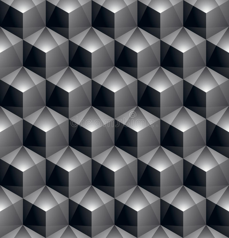 Monochrome abstract textured geometric seamless pattern with 3d stock illustration