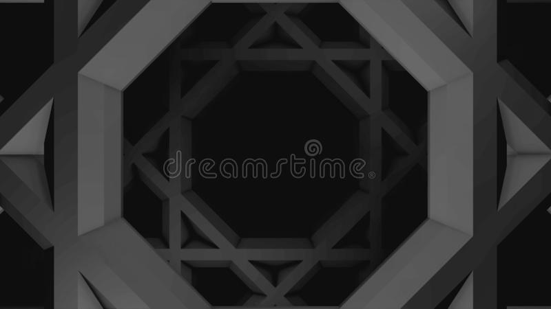 Monochrome animation of grey moving squares with hexagons inside, seamless loop. Animation. Geometrical figures moving stock illustration