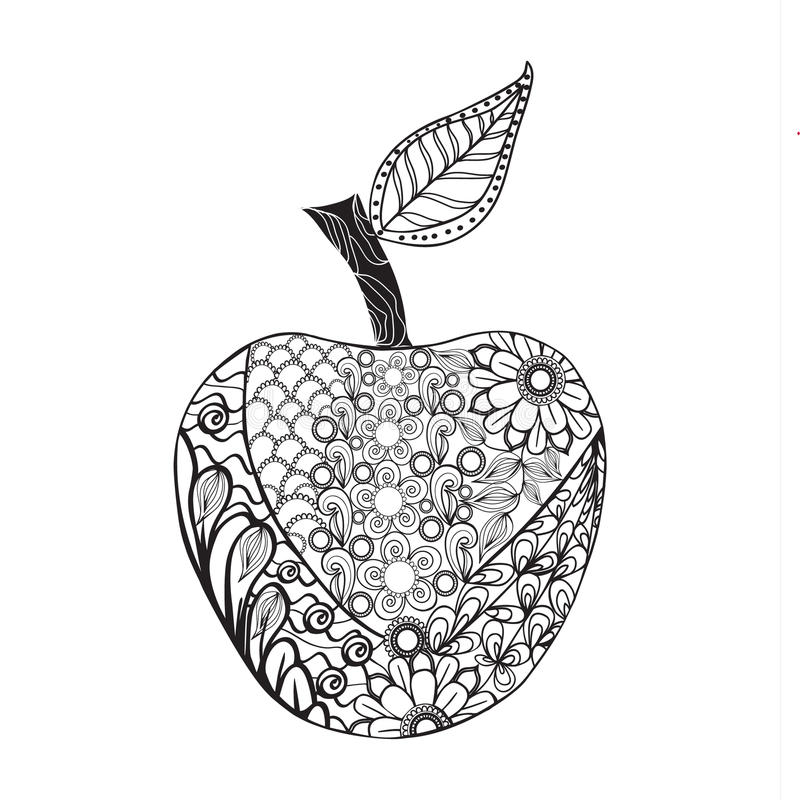 Monochrome Apple zentangle style for coloring book. Vector Monochrome Apple zentangle style for coloring book. Hand Drawn Decorative Fruit illustration doodle stock illustration
