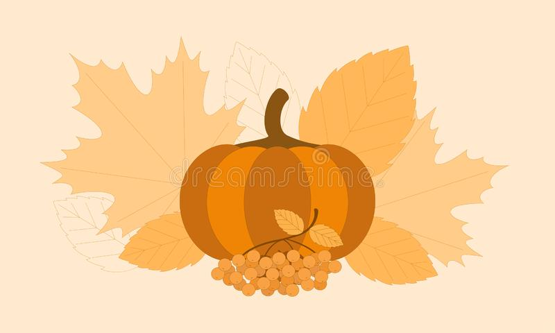 Monochrome autumn composition with rowan and pumpkin on a background of leaves. Monochrome autumn composition with rowan and pumpkin on a background of leaves stock illustration