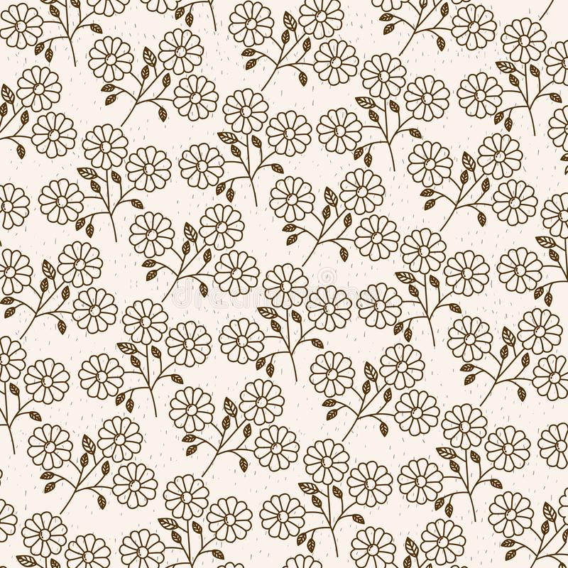 Monochrome background with pattern of daisy flowers with stem and leaves royalty free illustration