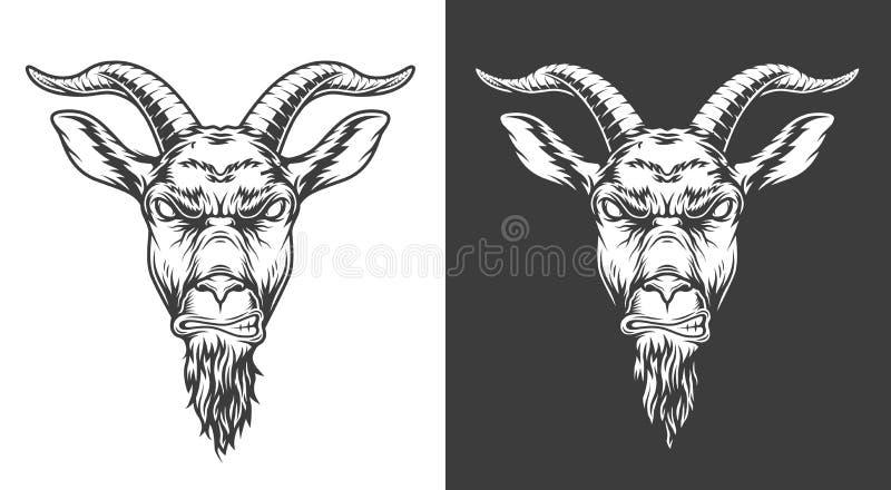 Monochrome goat icon. Monochrome badass goat head in vintage style. Vector illustration royalty free illustration