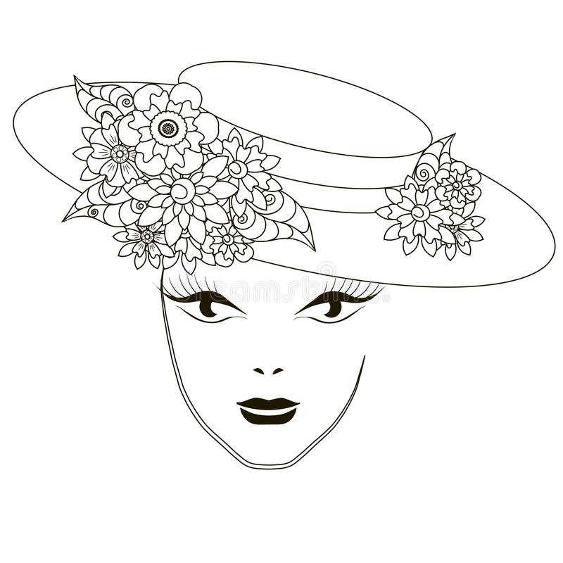 Monochrome beautiful girl in hat with flowers, coloring pages anti-stress illustration. Monochrome beautiful girl in hat with flowers, coloring pages anti-stress royalty free illustration