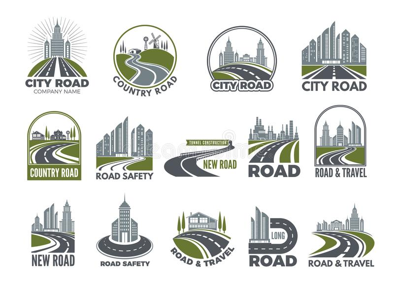 Monochrome big set of logotypes template with asphalt roads, expressway or highway. Vector road and travel, expressway and speedway illustration vector illustration