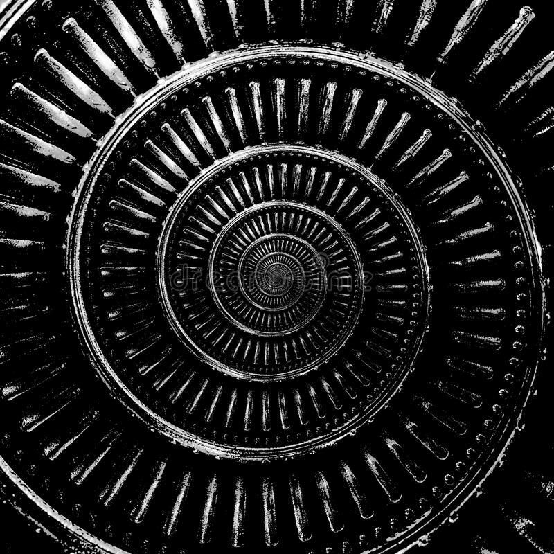 Monochrome black and white abstract spiral background pattern fractal. Metallic spiral decorative element pattern distorted backgr. Ound repetitive pattern stock image