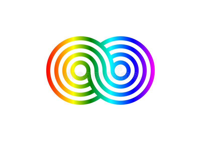 Rainbow Infinity sign. Line color gradient design pattern on white background. stock illustration