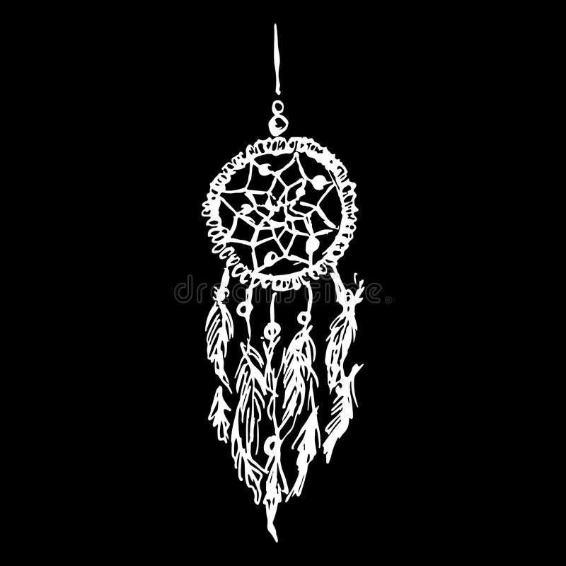 Monochrome black and white ethnic hand made feather dreamcatcher vector vector illustration