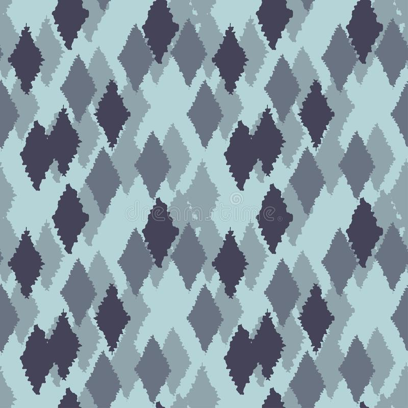Monochrome blue-green gloomy seamless pattern with rhombuses.  stock illustration