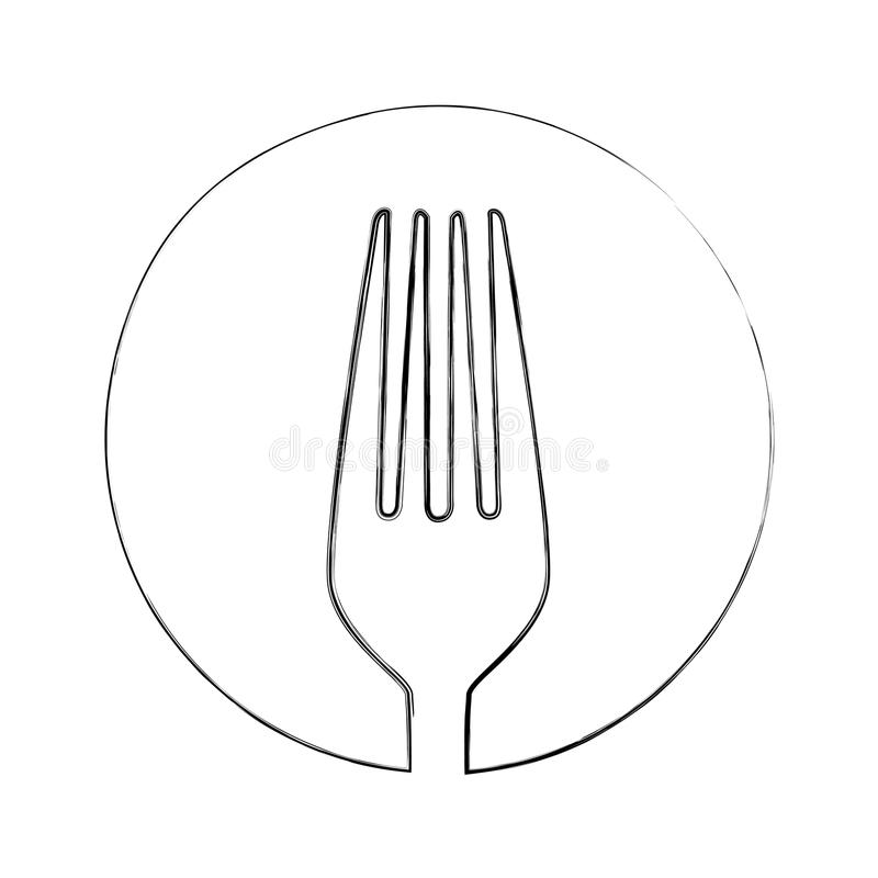 monochrome blurred contour of sketch of fork in circle royalty free illustration
