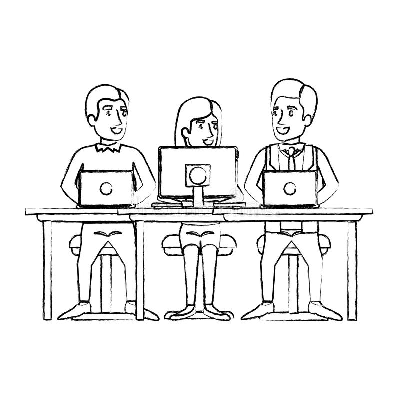 Monochrome blurred silhouette of eamwork of woman and men sitting in desk with tech devices. Vector illustration royalty free illustration