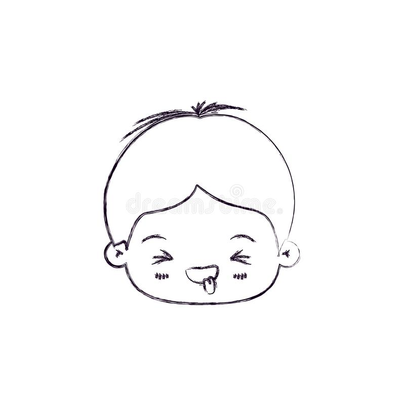 Monochrome blurred silhouette of facial expression disgust kawaii little boy. Vector illustration royalty free illustration