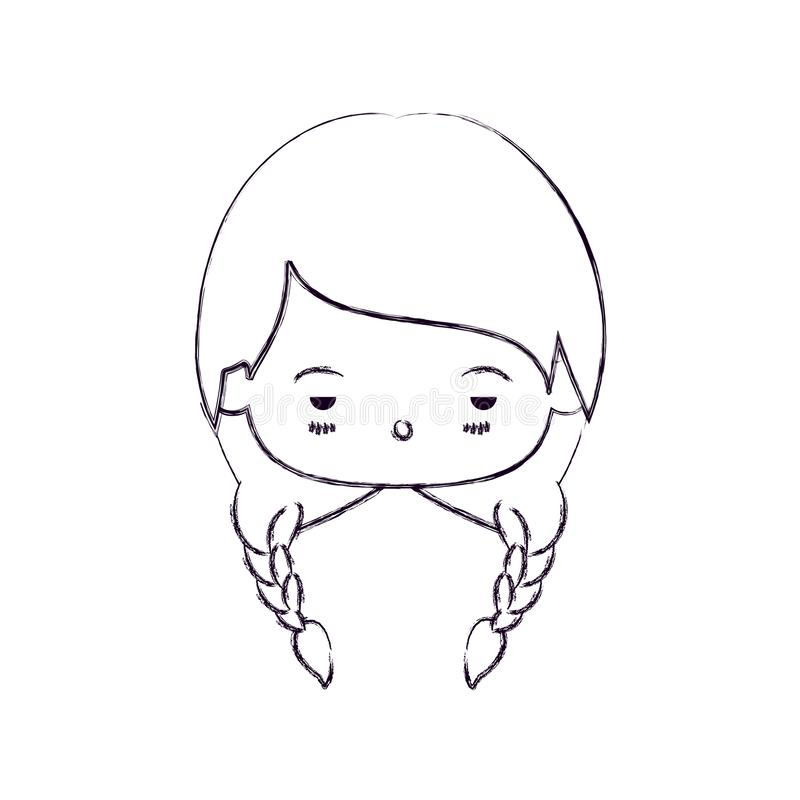 Monochrome blurred silhouette of facial expression sad kawaii little girl with braided hair royalty free illustration