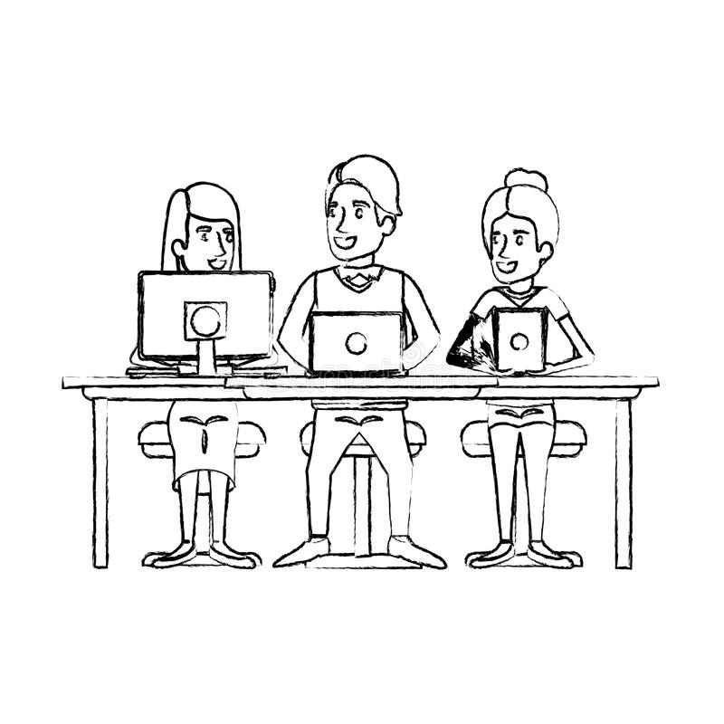 Monochrome blurred silhouette of teamwork sitting in desk with tech devices. Vector illustration stock illustration