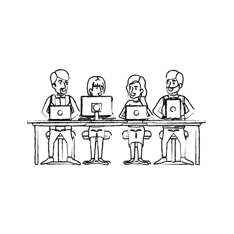 Monochrome blurred silhouette of teamwork of women and men sitting in desk with tech devices. Vector illustration royalty free illustration