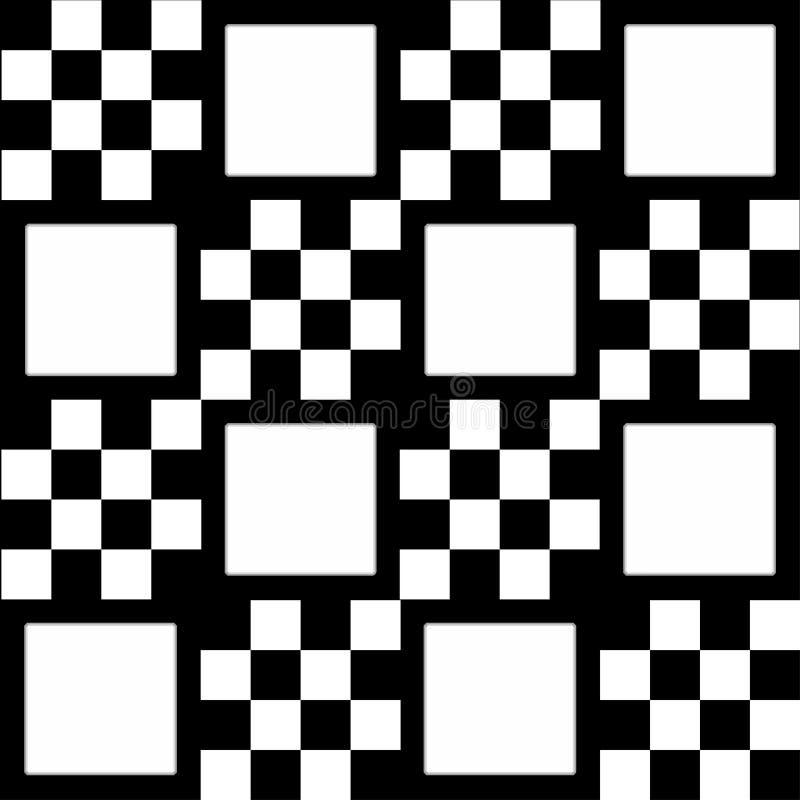 Monochrome checkered предпосылка с белыми квадратами бесплатная иллюстрация