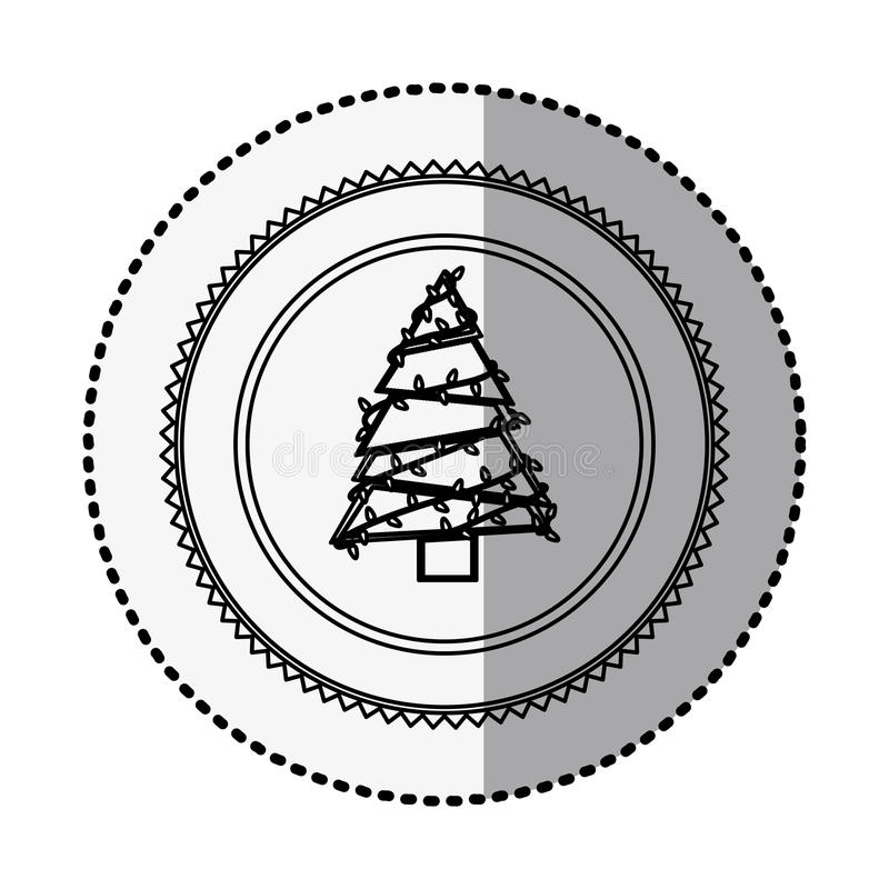 Monochrome circle with middle shadow sticker with christmas tree. Vector illustration stock illustration