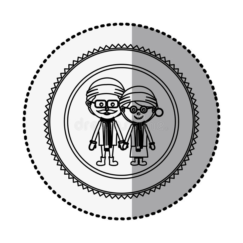 Monochrome circle with middle shadow sticker with grandparents with christmas clothes. Vector illustration vector illustration