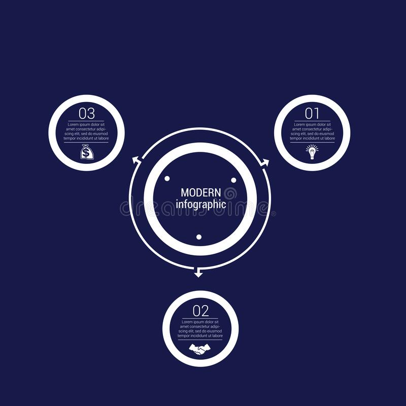 Free Monochrome Circles In A Circle Pattern For Infographic 3 Positions. Dark Blue Royalty Free Stock Image - 174777836