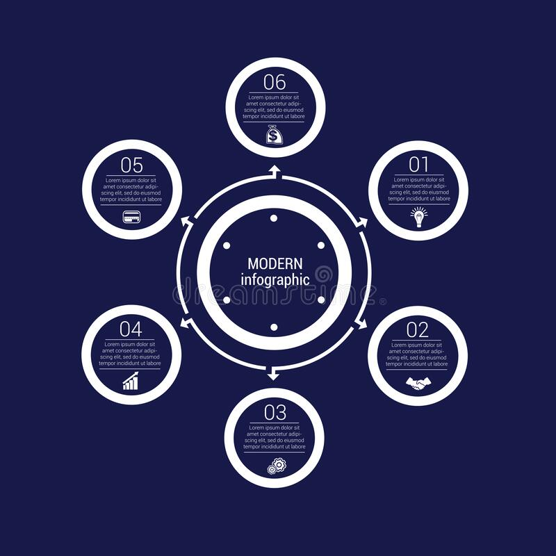 Free Monochrome Circles In A Circle Pattern For Infographic 6 Positions. Dark Blue Royalty Free Stock Image - 174778116
