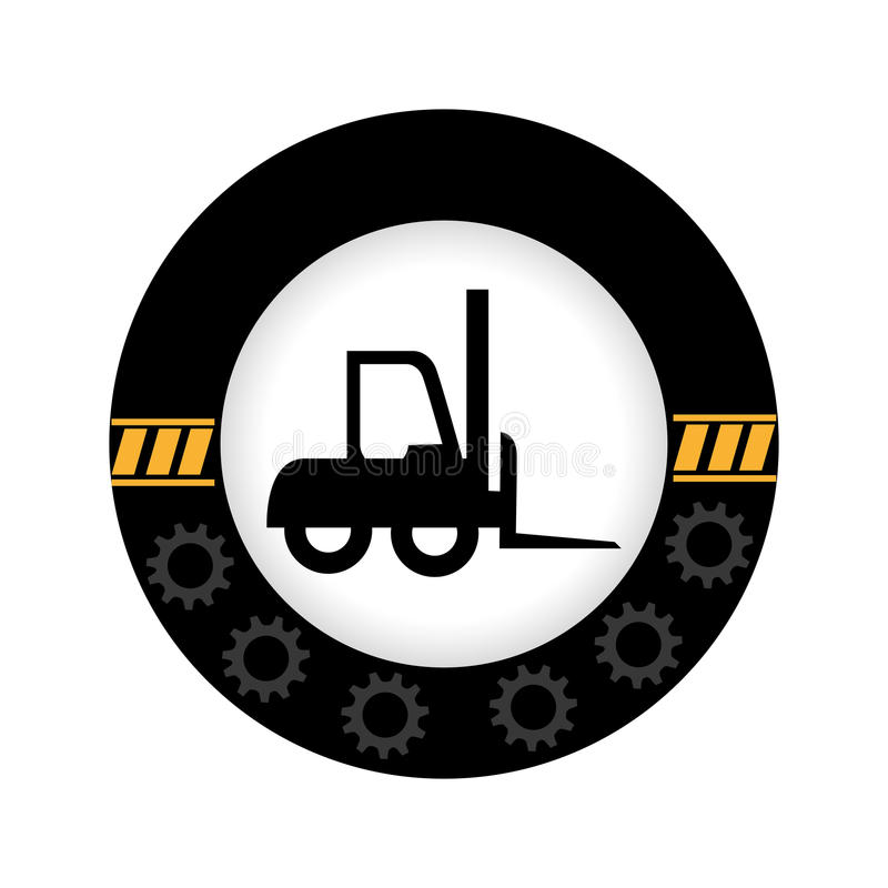 Monochrome circular emblem with gears border and forklift truck. Vector illustration vector illustration