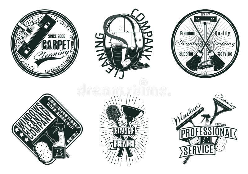 Monochrome Cleaning Company Geplaatste Emblemen royalty-vrije illustratie
