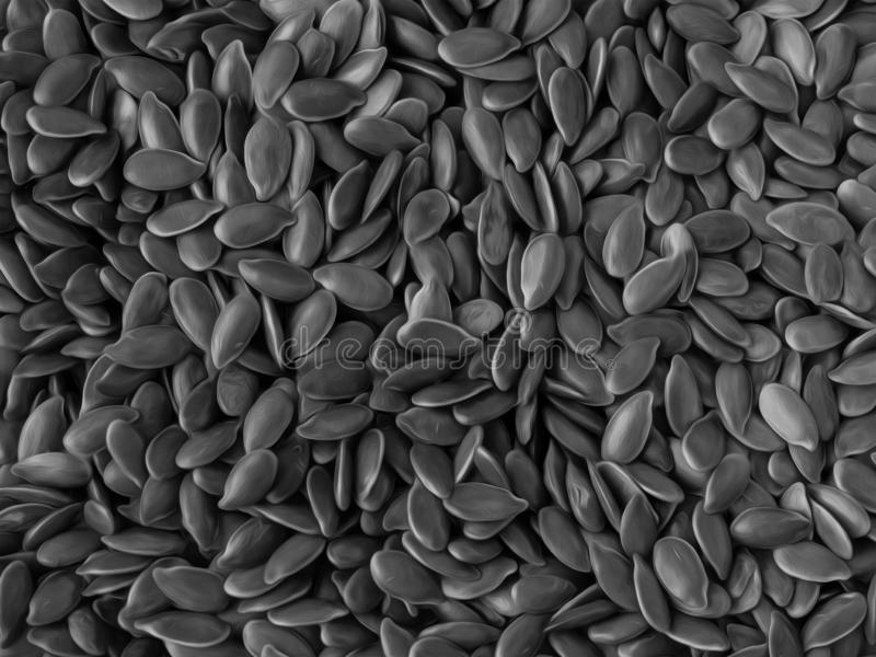 Monochrome Close-up of Flaxseeds, Oil Painting Style. Monochrome Close-up of Flaxseeds, Black And White Food Background In Oil Painting Style stock photography