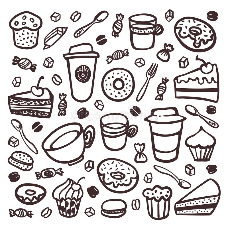 Monochrome Coffee set. Doodle style set of coffee tableware and sweet snacks. Exellent for menu design and cafe. Decoration. collection of coffee tableware and vector illustration