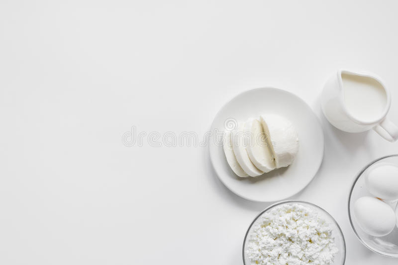 white table top view. Simple Table Download Monochrome Concept With Dairy Products On White Table Top View  Mockup Stock Image  To